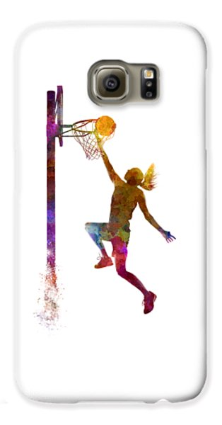 Young Woman Basketball Player 04 In Watercolor Galaxy S6 Case by Pablo Romero