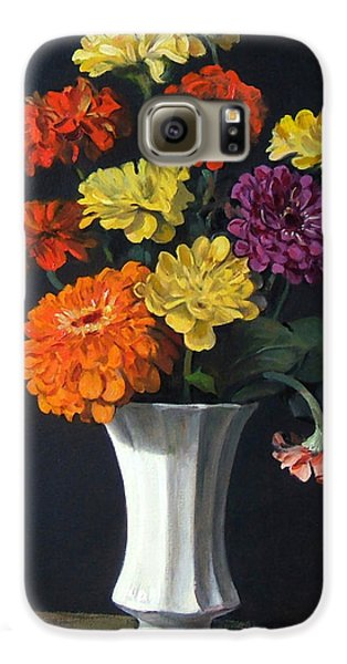 Zinnias Showing Their True Colors In White Vase Galaxy S6 Case