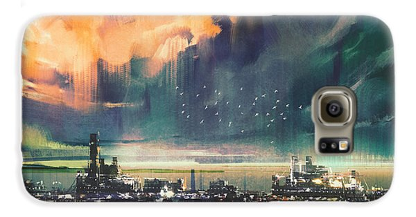 Town Galaxy S6 Case - Landscape Digital Painting Of Sci-fi by Tithi Luadthong
