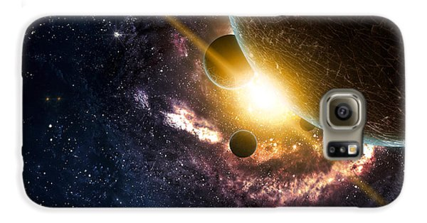 Outer Space Galaxy S6 Case - Planets Over The Nebulae In Space by Vadim Sadovski