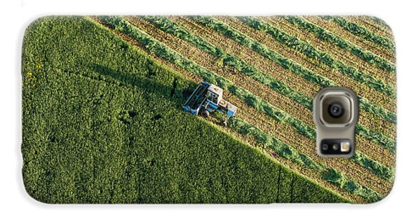 Airplanes Galaxy S6 Case - Aerial View Of Harvest Fields With by Mariusz Szczygiel
