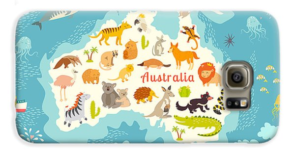 Mangrove Galaxy S6 Case - Animals World Map, Australia by Rimma Z