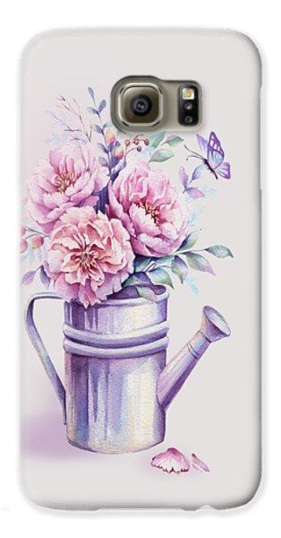 Galaxy S6 Case featuring the painting Pink Peonies Blooming Watercolour by Georgeta Blanaru