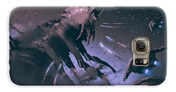 Outer Space Galaxy S6 Case - Battle Between Spaceships And Insect by Tithi Luadthong