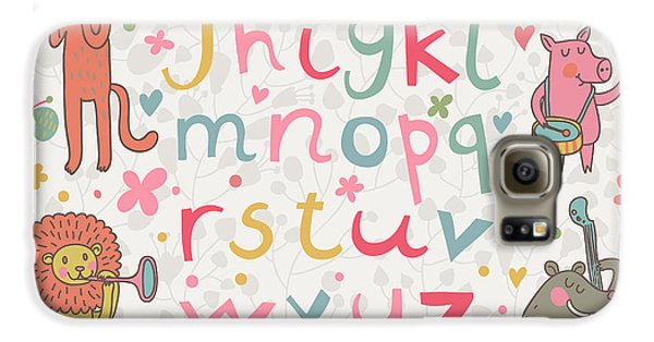 Drums Galaxy S6 Case - Cartoon Childish Alphabet With Animals by Smilewithjul