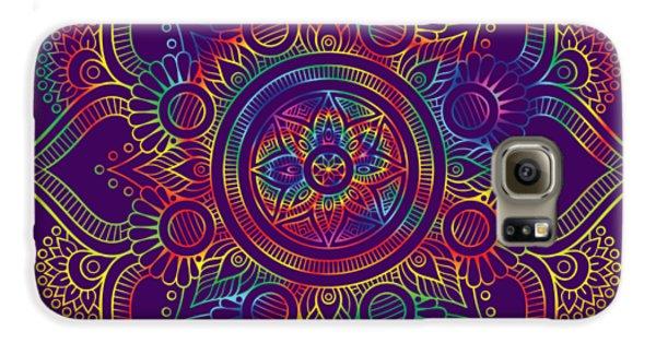 Galaxy S6 Case featuring the digital art Colourful Rainbow Mandala Lavender by Georgeta Blanaru