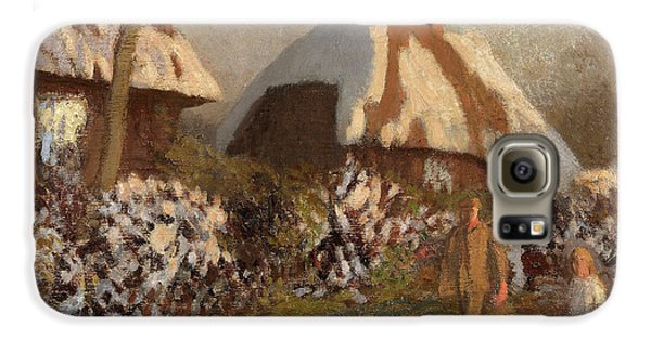 Boy George Galaxy S6 Case - Cottages On A Frosty Evening by Sir George Clausen