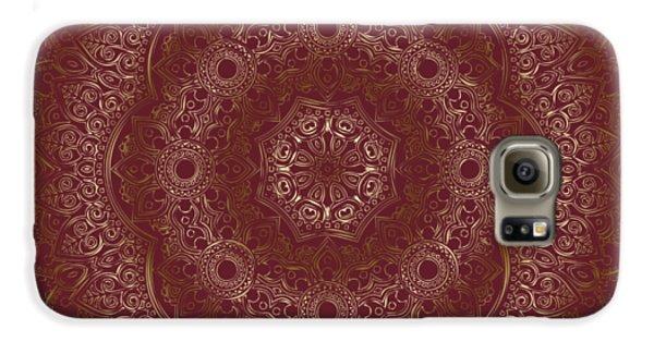 Galaxy S6 Case featuring the painting Elegant Golden Mandala Buddhist Symbol by Georgeta Blanaru