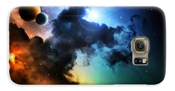 Outer Space Galaxy S6 Case - Fantasy Deep Space Nebula With Planet by Homeart