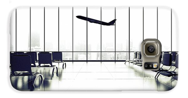 Airplanes Galaxy S6 Case - Futuristic Airport And Big Airliner In by Peshkova