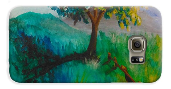 Galaxy S6 Case featuring the painting Green Pastures by Saundra Johnson