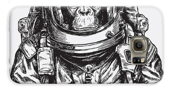 Outer Space Galaxy S6 Case - Hand Drawn Monkey Astronaut Vector by Tairy Greene
