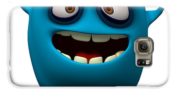 Outer Space Galaxy S6 Case - Happy Blue Monster by Albert Ziganshin