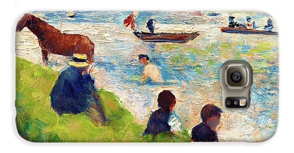 Boy George Galaxy S6 Case - Horse And Boats - Digital Remastered Edition by Georges Seurat