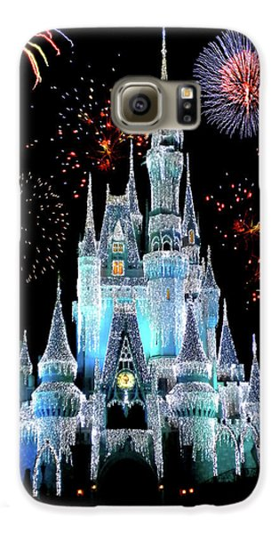 Magician Galaxy S6 Case - Magic Kingdom Castle In Frosty Light Blue With Fireworks 06 by Thomas Woolworth