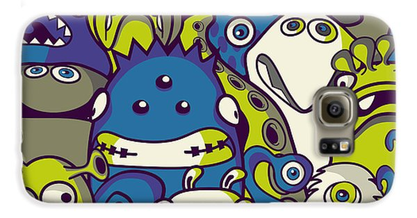 Outer Space Galaxy S6 Case - Monsters And Aliens- Seamless Background by Trendywest
