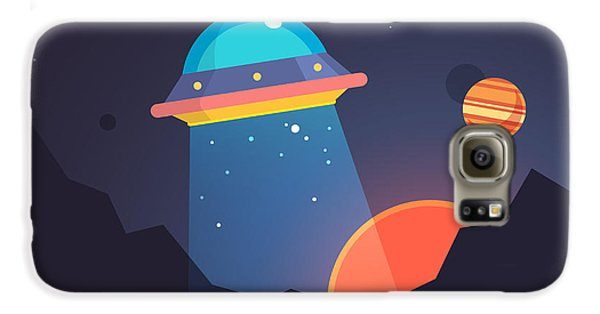 Outer Space Galaxy S6 Case - Night Alien World Landscape And Ufo by Iconic Bestiary