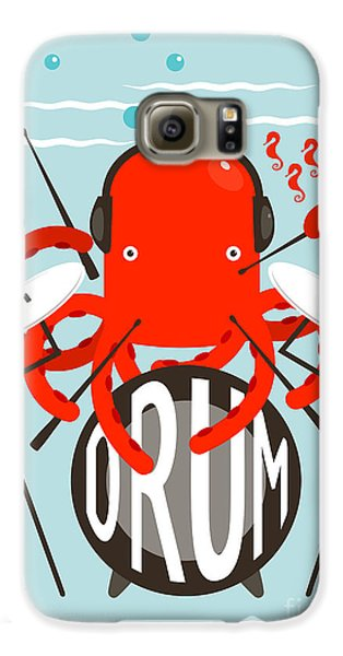 Drums Galaxy S6 Case - Red Octopus Playing Drums. Underwater by Popmarleo