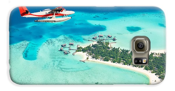 Airplanes Galaxy S6 Case - Sea Plane Flying Above Maldives Islands by Jag cz