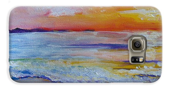 Galaxy S6 Case featuring the painting Sunset On The Gulf by Saundra Johnson