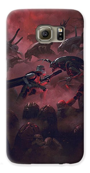 Outer Space Galaxy S6 Case - Vader Vs Aliens 5 by Guillem H Pongiluppi