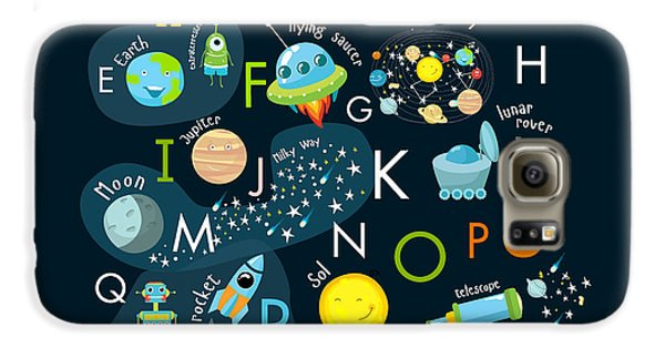 Outer Space Galaxy S6 Case - Vector Space Alphabet by Olga Utchenko