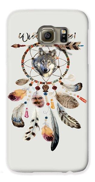 Galaxy S6 Case featuring the mixed media Wild And Free Wolf Spirit Dreamcatcher by Georgeta Blanaru