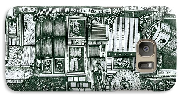 Galaxy Case featuring the drawing   A Traveling Cabinets Of Curiosities by Richie Montgomery