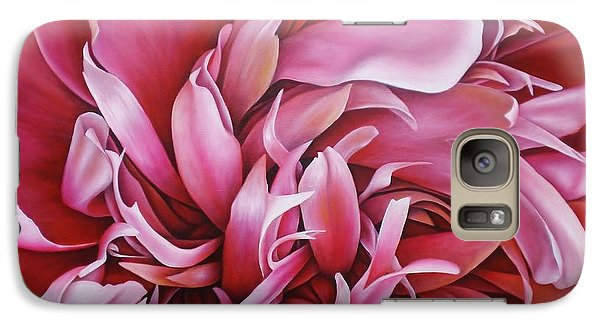Galaxy Case featuring the painting  Abstract Peony by Paula L