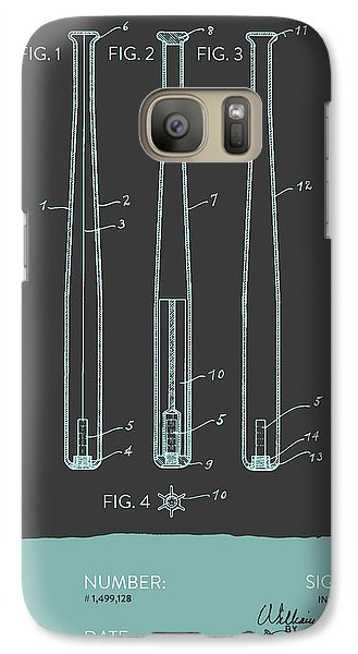 Softball Galaxy S7 Case -  Baseball Bat Patent From 1924 - Gray Blue by Aged Pixel