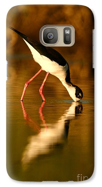 Galaxy Case featuring the photograph  Black-necked Stilt Reflection by John F Tsumas