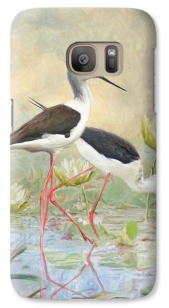 Galaxy Case featuring the digital art  Black Winged Stilt by Trudi Simmonds