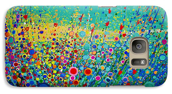 Galaxy Case featuring the painting  Colorful Flowerscape by Maja Sokolowska
