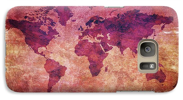 Galaxy Case featuring the digital art  Colorful World Map by Mohamed Elkhamisy