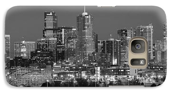 Galaxy Case featuring the photograph  Denver Skyline At Dusk Black And White Bw Evening Extra Wide Panorama Broncos  by Jon Holiday