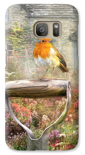 Galaxy Case featuring the digital art  English Robin by Trudi Simmonds