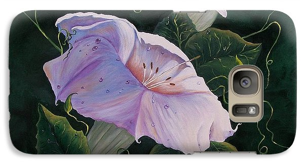 Galaxy Case featuring the painting  First  Trumpet Flower  Of Summer by Sharon Duguay