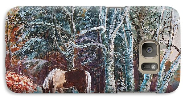 Galaxy Case featuring the painting  First Snow by Joy Nichols
