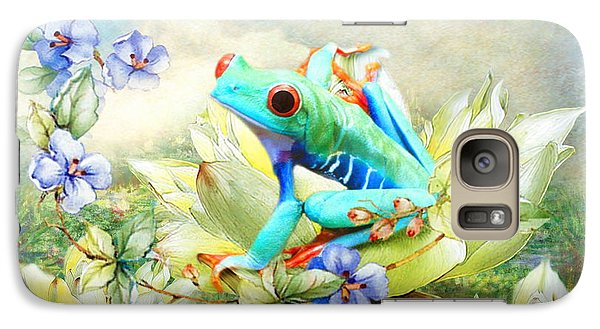 Galaxy Case featuring the digital art  Frog On The Flowers by Trudi Simmonds