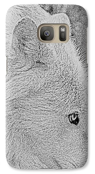 Galaxy Case featuring the drawing  Gentle Arctic Wolf  by Debra     Vatalaro