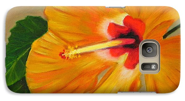 Galaxy Case featuring the painting  Golden Glow - Hibiscus Flower by Shelia Kempf