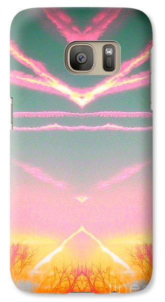 Galaxy Case featuring the photograph  Heavenly  Contrails  by Karen Newell