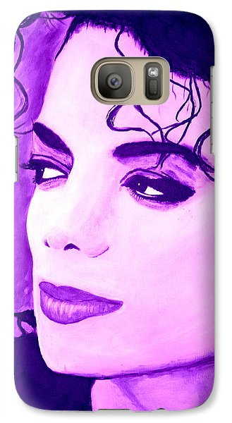 Galaxy Case featuring the painting  Michael Jackson In Purple by Bob Baker