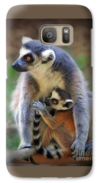 Galaxy Case featuring the photograph    Mother And Baby Monkey by Savannah Gibbs