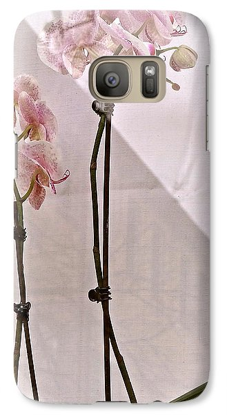 Galaxy Case featuring the photograph  Orchids In The Window by Ira Shander