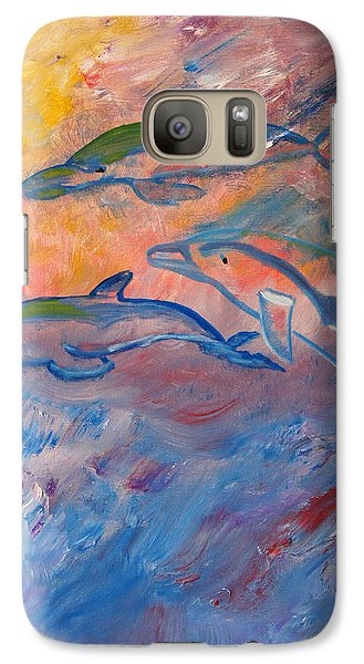 Galaxy Case featuring the painting  Soaring Dolphins by Meryl Goudey