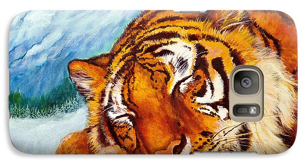 Galaxy Case featuring the painting  Tiger Sleeping In Snow by Bob and Nadine Johnston