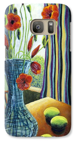 Galaxy Case featuring the painting 01295 Poppies And Limes by AnneKarin Glass