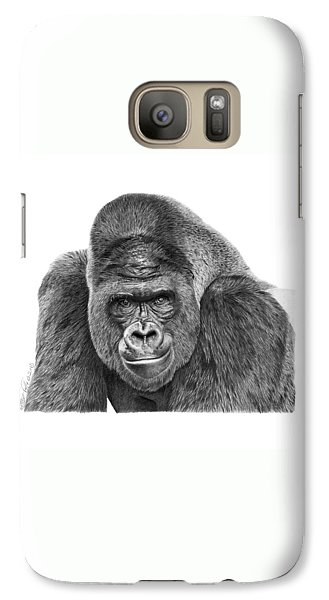 Galaxy Case featuring the drawing 042 - Gomer The Silverback Gorilla by Abbey Noelle