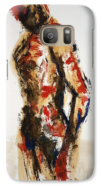 Galaxy Case featuring the painting 04870 Serious Soldier by AnneKarin Glass